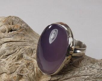 Purple Gemstone ring size 8 1/2 Sterling Silver purple agate ring West Java Purple cabochon purple Chalcedony gemstone purple jewelry