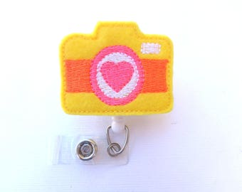 Badge holder Retractable - Picture Day badge reel - yellow felt camera badge reel - photographer photography nurse teacher student