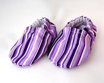 Purple Cloth Baby Shoes, Purple Stripes, Fabric Shoes, Soft Sole Shoes, Cotton Baby Shoes, Baby Accessories, Baby Gift Idea,Baby Shower Gift