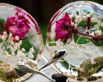 Real Roses Earrings. Pink Rose Resin Earrings. Natural Style Earrings. Real Flowers Earrings. Organic circle earrings. Crystal glass beads