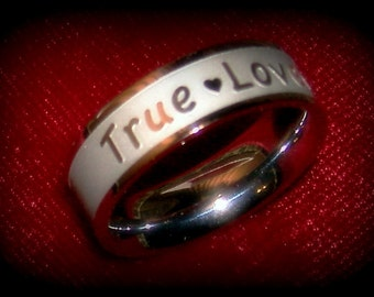 Ring Band Jewelry True Love Engraved Stainless Steel Rust Free No Polish Lifetime Gift Love Ring Friendship Ring Engraved Jewelry Band Ring