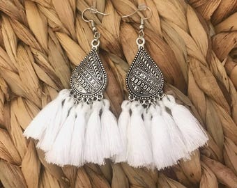 ICE - Earrings ethnic white