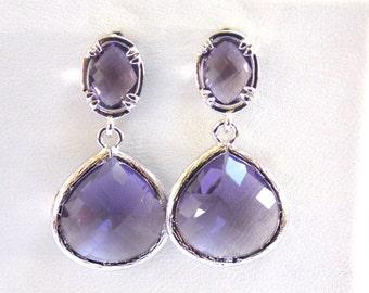 Purple Earrings, Lavender Earrings, Glass, Tanzanite, Silver, Bridesmaid Jewelry, Bridesmaid Earrings, Bridal Jewelry, Bridesmaid Gifts