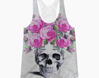Boho Floral SKULL Racerback Tank Top, Vintage Anatomy Skull, Women's Skull Flowers Shirt, Pink Gypsy Roses Gothic Yoga, Gym Tank