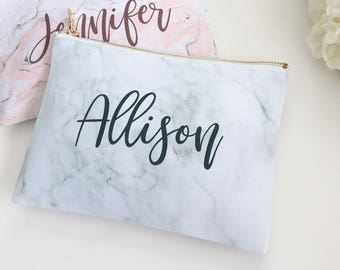 Monogram Cosmetic Bag - Personalized Gray Marble Pink Marble Print Makeup Bag, Custom Cosmetic Bag, Personalized toiletry bag, pencil bag