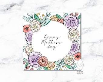 Floral Watercolor Happy Mother's Day Card