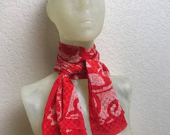 Vintage 1980s Pure Silk Albert Nipon Red and White Scarf