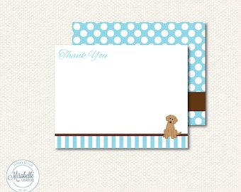 CUSTOMIZABLE SOCIAL STATIONERY - Puppy Dog Note Cards or Thank You Cards - Mirabelle Creations