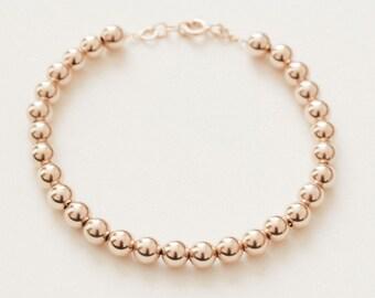 Gold Bead Bracelet / 14k Gold Fill Bracelet / Gold Bracelet