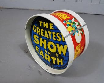 Ringling Brothers Barnum Bailey Circus Greatest Show On Earth Tin Drum Vintage circus souvenir circus collectible