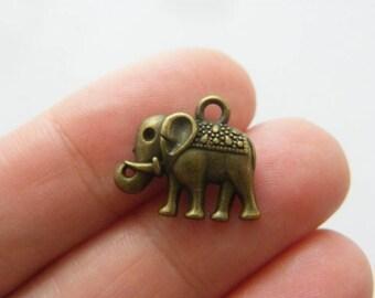 10 Elephant charms antique bronze tone BC177