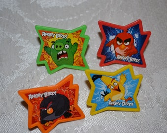 12 Angry Birds Cupcake Toppers/Angry Birds Party Rings/Angry Birds Birthday Party Ring Favors/Angry Birds/Angry Birds Rings