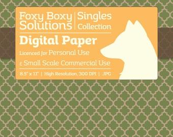 Moroccan Pattern on Kraft Digital Paper - Single Sheet in Green - Printable Scrapbooking Paper