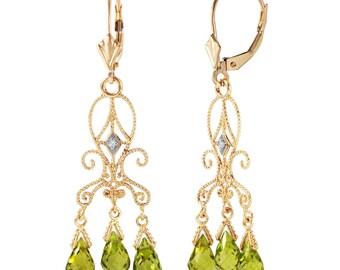 Peridot Earrings, Peridot Chandelier Earrings, Natural Peridot, August Birthstone, Gold Chandelier Earrings, 14k Gols Earrings