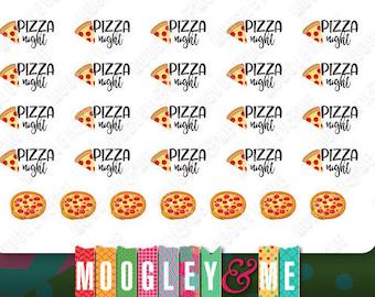 Pizza Night - Planner Stickers, Erin Condren Life Planner Stickers, Happy Planner Stickers, Personal Planner