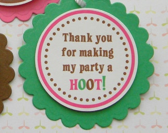 Owl Themed Birthday Party Favor Tags