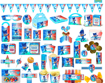 Printable Kit cat Catboy PJMasks editable + candy bar (candy table) toppers wrappers banner Invitations