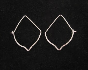 Arabesque sterling silver or gold filled hammered wire hoop earrings, modern, everyday hoops earrings