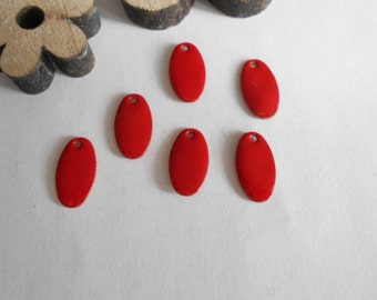 6 sequins enamelled drops red 13 x 7 mm