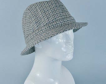 "Vintage Men's Beige Tweed Wool Fedora Trilby Hat Mad Men Large 58cm 23"""