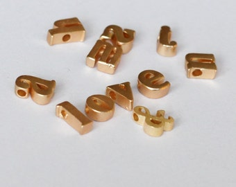7X5mm Mini initial Charm, Matte Golden Letter charm,  Can Add to necklace or Bracelet, Personalized Initial Charm, Bead
