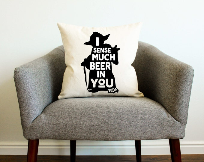 "Star Wars Yoda ""I Sense Much Beer In You"" Pillow - Star Wars Gift, Drinking, Star Wars Funny Gift, Home Decor, Man Cave, Star Wars Men Gift"
