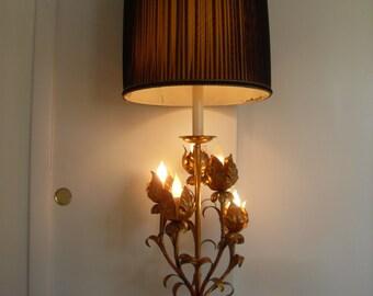 Vintage,Mid Century,Hollywood Regency  Italian Toleware  Table Lamp