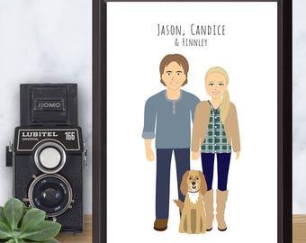 Couple Portrait drawing, Custom Illustration, Personalized Illustration, Wall Art, Unique Anniversary Gift, Digital File, Printable