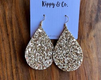 Gold Glitter Drop Earrings, Glitter Earrings