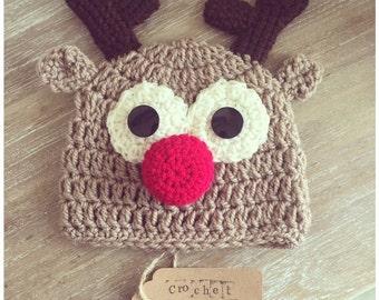 Crochet Rudolf the Reindeer Hat