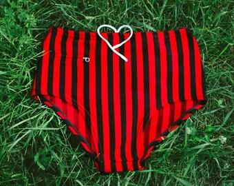 1960's Swimming Trunks / Red Shimmer & Black Stripe Vintage High Rise Men's Swim Briefs / Striped Retro Speedos + Zip Pocket, SIZE: XS to S