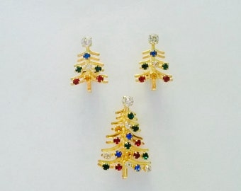 Austria Signed  Christmas Tree Brooch and Earrings