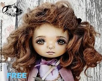 Textile doll sitting doll 12 inces interior doll fabric doll portrait doll cloth textile doll текстильная кукла selfie doll portrait doll