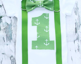 Baby Boy Green Nautical first birthday cake smash one year onesie, bow tie and suspenders  lime green boy one year bodysuit customizable