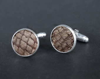 Salmon fish leather cufflinks, brown fish skin cufflinks, exotic leather cufflinks, hazelnut brown fish salmon leather