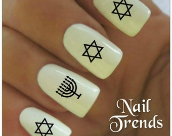 Hanukkah Nail Decal 20  Vinyl Adhesive Decals Star Of David Nail Tattoos  Nail Art