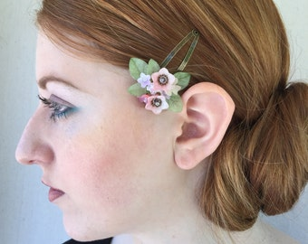 SWEETHEART SNAP CLIPS in Blush, Vintage Inspired Hand beaded Flower Clip by Colleen Toland