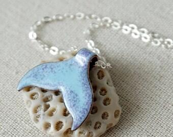 Purple on Light Blue Enamel Mermail Tail Necklace - Enamel Jewelry, Mermaid Jewelry, Whale Tail Jewelry, Dolphin Tail, Dolphin Jewelry