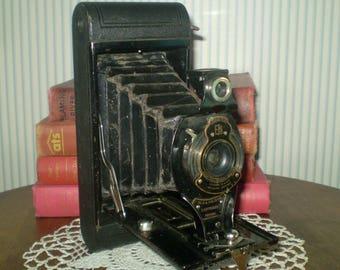 Eastman/Kodak No. 2A Folding Hawk-eye Camera-use 116 Kodak Film-fold out bellows, old school camera-Black Kodak early Hawk Eye CAMERA-Works