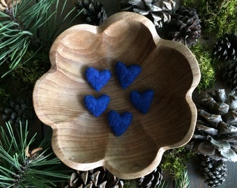 Felted wool hearts, Blueberry Blue, set of 5, Valentine's Day or Anti-Valentine's Day decor, Galentine's Day gift under 20, blue wool heart