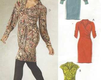 Womens Mock Wrap Dress and Sash OOP McCalls Sewing Pattern M6163 Size 8 10 12 14 16 Bust 31 1/2 to 38 UnCut Stretch Knits Only