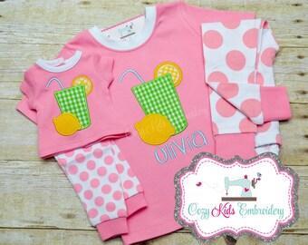 Girls pajamas, Summer Pajamas, Spring Pajamas,Lemonade pajamas, girls pj, spring pj, spring pajama, girls pajamas, girls pj, appliqué