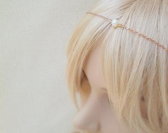 Pearl hair jewelry bridal rose gold hair chain silver beach wedding back head tiara crown pearl headband rustic pearl circlet forehead front