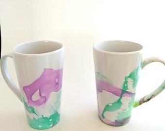 Purple Green Marbled Mug