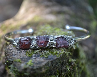 January Birthstone Gift- Garnet Bracelet, Raw Garnet Cuff Bracelet, Pyrite Bracelet, Birthstone Gift, Birthday Gift for January, Mothers Day