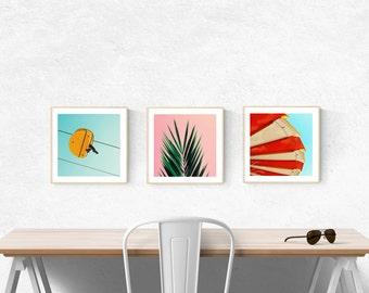 art prints // mid century modern beach art // palm tree wall art - bright modern photography art prints