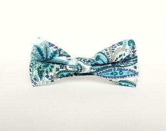 Men's floral paisley blue bow tie Pre-tied bow tie gift for men blue Wedding bow tie groomsmen