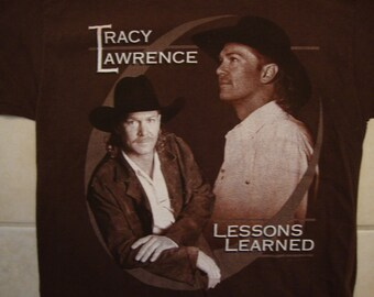 Vintage 90's Tracy Lawrence Lessons Learned Concert Tour Fan Brown T Shirt Size M