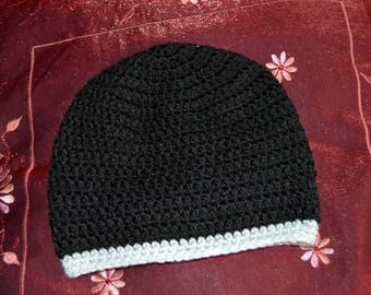 Cute baby hat size 6-12 months black and grey