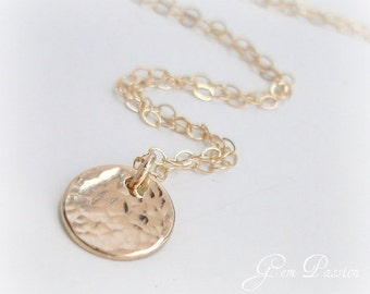 Hammered Gold Disc Necklace 14k Gold Filled, SUN DROP, Small Gold Disc, Handmade, Layering Necklace, Delicate Minimalist, Can Personalize